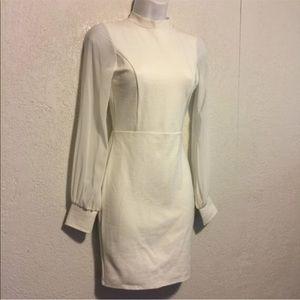 90s White Stretch Dress w Sheer Sleeves, Open Bk